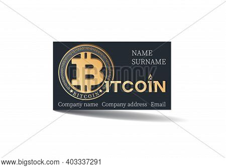 Bitcon. Payment Card. Vector Card Template Design With Bitcoin On Black Background. Concept Of Using