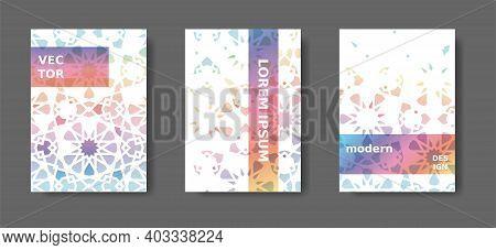 Rainbow Geometric Poster, Catalog, Magazine, Report Modern Set. Vector A4 Cover Design With Arabesqu
