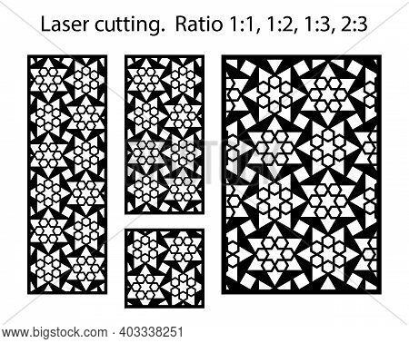 Cnc Panel Templates Set. Laser Pattern. Set Of Geometric Decorative Vector Panels For Laser Cutting