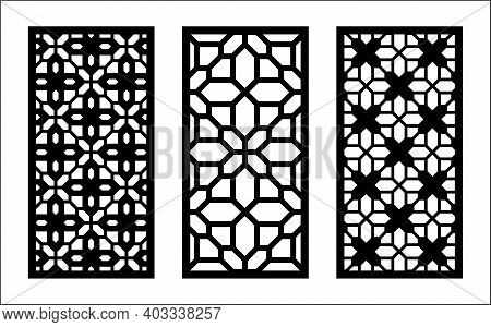 Laser Pattern. Set Of Decorative Vector Panels, Screens For Laser Cutting. Template Pattern For Inte