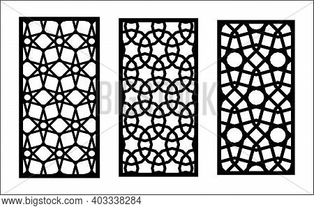 Cnc Decorative Lazer Pattern. Set Of Decorative Vector Panels For Lazer Cutting. Cnc Template For In