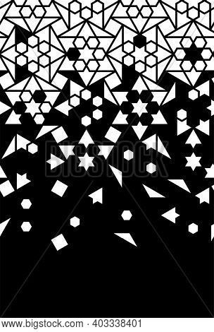 Arabic Jali Vector Seamless Border. Geometric Halftone Texture With Tile Or Mosaic Disintegration. A