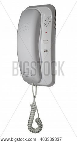 Intercom With Telephone Receiver Isolated On White Background, Home Telephone, Radio Signal. Place F