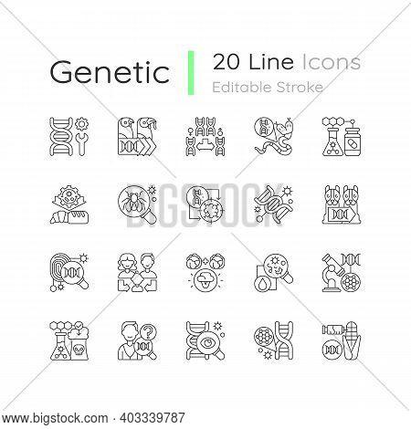 Genetic Engineering Linear Icons Set. Chromosome Division. Animal Mutation. Medical Biotechnology. C