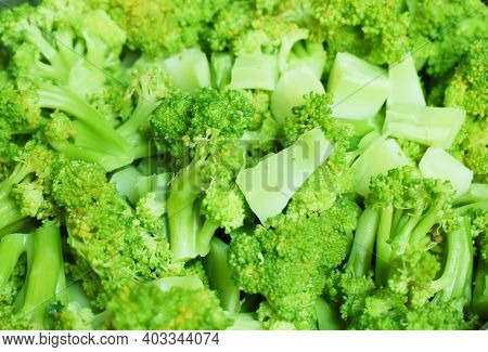 Close Up Look Of Brocoli In Fresh Green Colour Chopped In Pieces