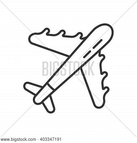 Airplane Icon Vector Icon. Jet Sign In Outline Style. Travel Jetliner Symbol For App