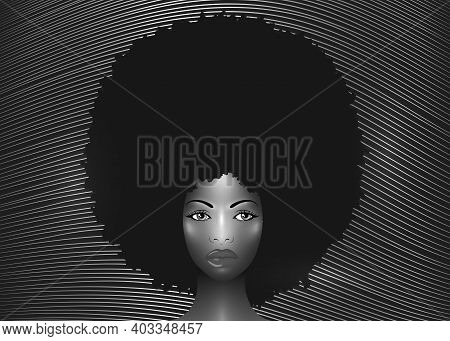 Portrait African American Woman, Dark Skin Female Face With Beautiful Traditional Black Afro Curly H