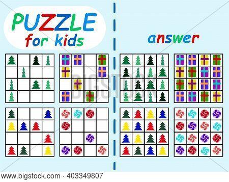 Winter Season Sudoku Set For Kids Stock Vector Illustration. Educational Logical Sudoku Game Without