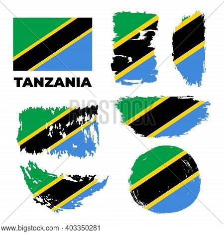Tanzania National Flag Created In Grunge Style