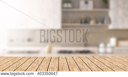 Empty Wooden Table In The Kitchen. Horizontal 3d Illustration With Copy Space. Hardwood Bar Counter.
