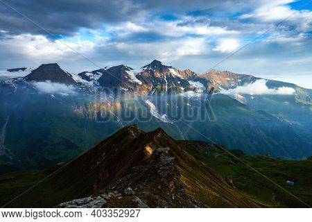 Amazing sunrise on the top of Grossglockner pass, Swiss Alps, Switzerland, Europe. Landscape photography