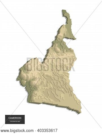 Cameroon Map - 3d Digital High-altitude Topographic Map. 3d Vector Illustration. Colored Relief, Rug