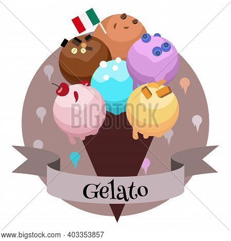 Italian Ice Cream Gelato. Colorful Cartoon Style Illustration For Cafe, Bakery, Restaurant Menu Or L