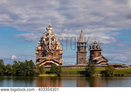 17th century wooden churches and bell tower of Kizhi Pogost historical site on Kizhi Island at Lake Onega, one of the most popular tourist destinations in Republic of Karelia, Russia
