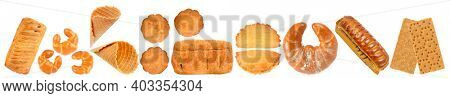 Sweet and fresh bread products in row isolated on white background.