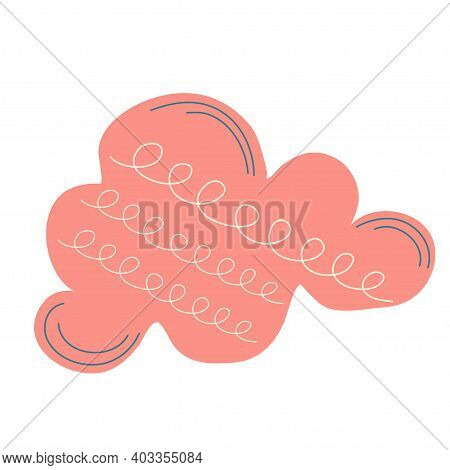 Scandinavian Hooge Cloud Isolated On A White Background. Vector Illustration In Simple Scandinavian