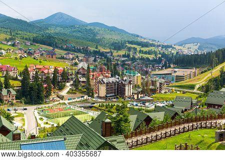 Ski Resort Base Bukovel In Carpathians Mountains In Summer Day. Carpathian Mountains, Ukraine - 07.2