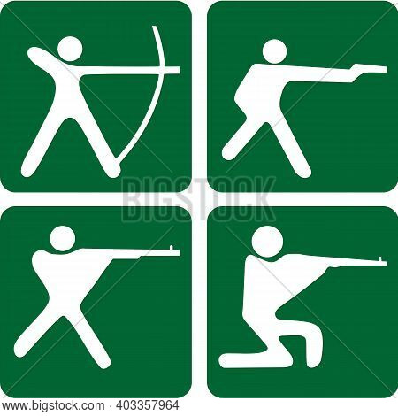 Four Icons Of Different Kinds Of Sports. Sports Illustration Of Field Hockey, Bandy, Shooting Sport,