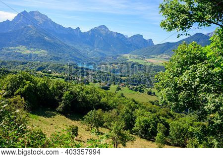 Panoramic View On Grande Tete De Obiou Mountain Range In French Prealps In Isere Near Grenoble, High