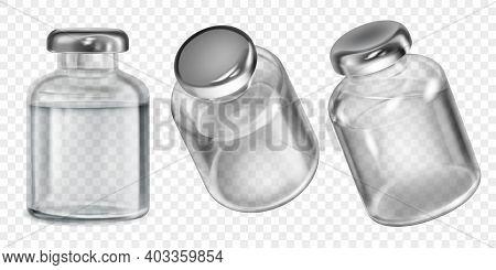 Set Of Realistic Translucent Coronavirus Vaccine Bottles With Colorless Liquid On Transparent Backgr