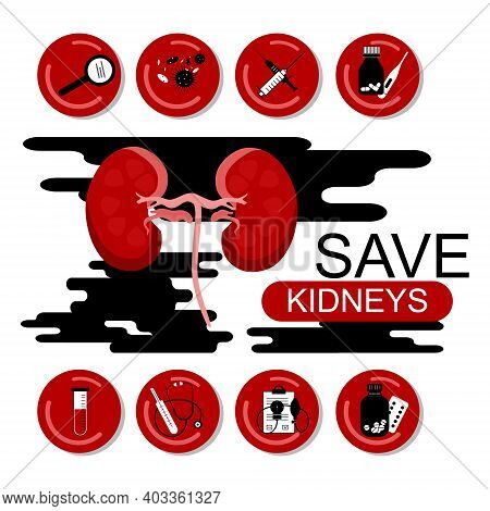 Protect Your Kidneys Banner. Medical Icons With Tools Around. Surgery Equipment. Pyelonephritis Dise