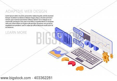 Adaptive Interface Design. Developers Use Software On Multiple Devices. Cross-platform Software. 3d