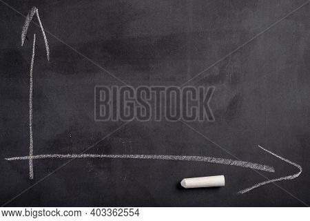 Writing Chalk And Graph On A Black Blackboard. Accessories For Saving The Lesson Content At School.