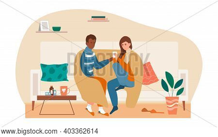 Ill Couple With Cup Of Hot Beverage Having Flu Together. Sick Man And Woman Covered In Plaid Sitting