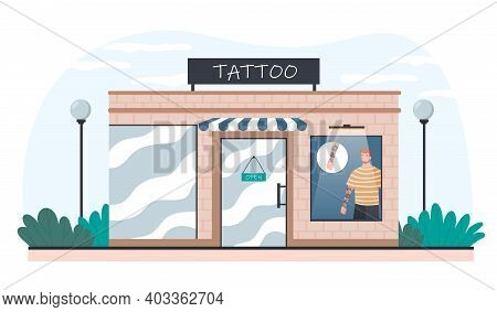 Tattoo Salon Exterior From Outdoors. City Building With Tattooed Model Man At Window. Flat Cartoon V