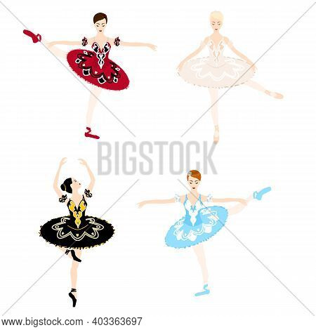 Ballerina In Tutu And Pointe Shoes, Ballet Pose, Dancing And Posing, Vector Ballet Set