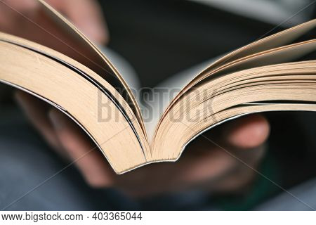Man Close Up While Reading Book In Leisure Time, Knowledge Study In Lock Down, Home Relax Lifestyle