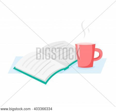 Cup And Book, Read And Drink Coffee Or Tea, Flat Vector Illustration