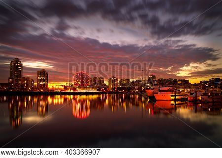 Vancouver, British Columbia, Canada - October 31, 2017. False Creek Twilight, Vancouver. Morning Twi