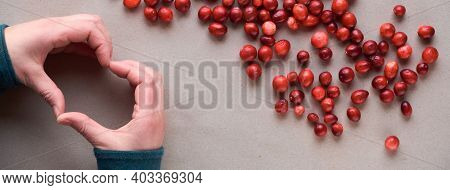 Fresh Cranberry Berry, View From Above. Hands Show Heart Sign. Cranberry Background, Top View, Flat