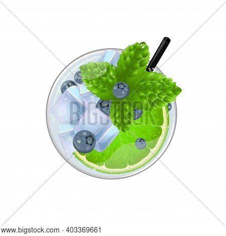 Mojito Cocktail With Lime, Mint, Blueberry And Ice Top View. Cold Alcoholic Or Non-alcoholic Long Dr