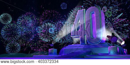 Number 40 In Solid And Thick Shape On A Purple Pedestal With The Appearance Of A Monument Illuminate
