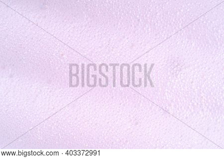 Purple Laundry Spume. Foam Macro Background With Bubbles. Soapy Surface Closeup. Foamy Cleansing Ski