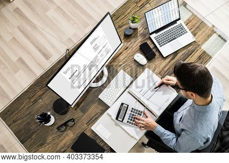 Chartered Tax Accountant Using Modern Invoice Billing Software