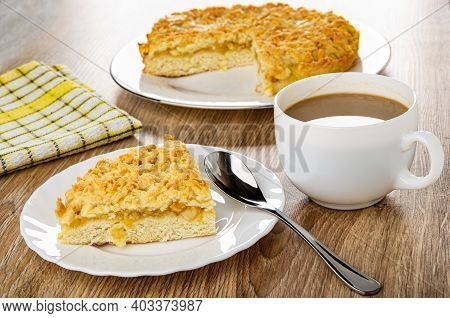 Checkered Napkin, Shortbread Pie With Lemon Filling In White Glass Dish, Piece Of Pie On Plate, Teas
