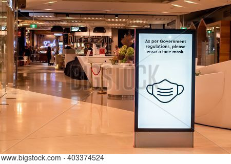 Sydney, Australia - 2020-01-14 Wearing Face Masks In Shopping Centres Are Compulsory In Some Austral