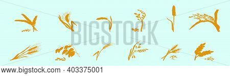 Set Of Oats Cartoon Icon Design Template With Various Models. Modern Vector Illustration Isolated On