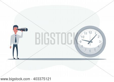 Businessman Standing In Front Of Clock. Businessman Looking In Future. Man Using Telescope Looking F