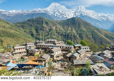 View Of Annapurna Range Includes Annapurna South And Mt.himchuli View From Ghandruk Village In North