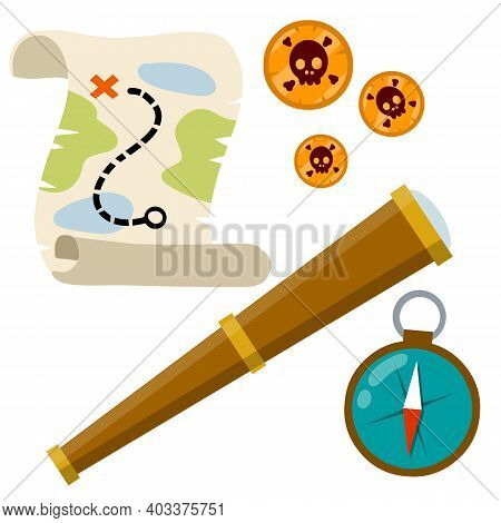 Set Of Pirate. Treasure Map And Gold Coins. Treasure And A Telescope. Compass For Navigation. Search
