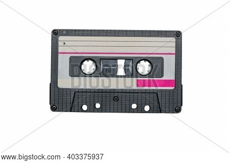 Retro Cassette Tape Recorder With A Stylish Design Isolated On A White Background. Retro Carrier Of