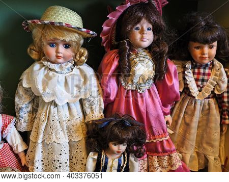 Old And Vintage Play Dolls In Antiques Shop As Memories Of The Past