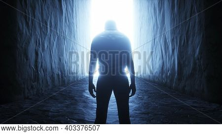 A Lonely Man Stands In Front Of A Light Portal. 3d Rendering.