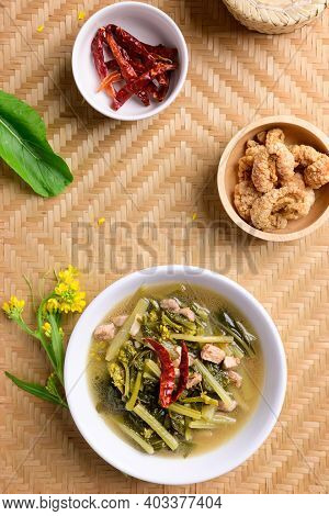 Northern Thai Food (pak Kad Jor), Sour Soup Thai Flowering Bok Choy With Pork Eating With Dry Chili,