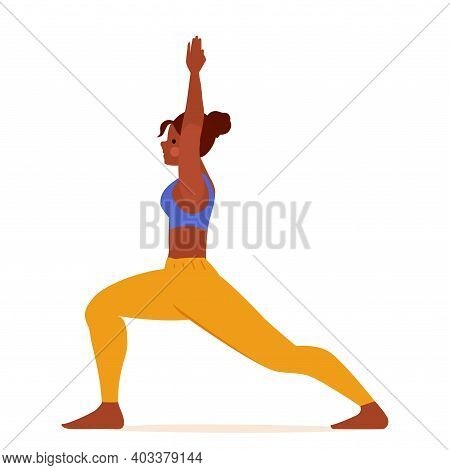 Illustration Of Woman Doing Yoga. Crescent Lunge. Cartoon Gorl Character, Vector