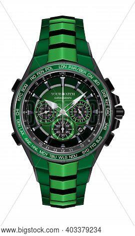 Realistic Watch Clock Chronograph Green Black Steel Design Fashion For Men Luxury Elegance On White